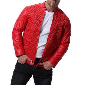 Стилно мъжко яке от еко кожа в черен и червен цвят