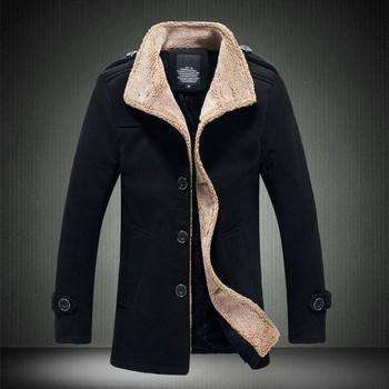 Мъжко палто с мека подплата в три цвята