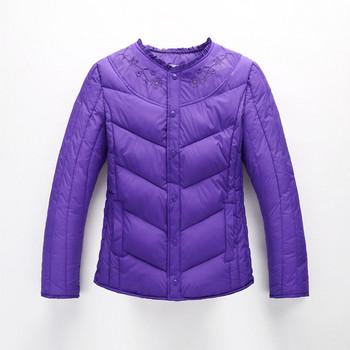 Γυναικείο σακάκι με κεντήματα και O-κολάρο σε διάφορα χρώματα