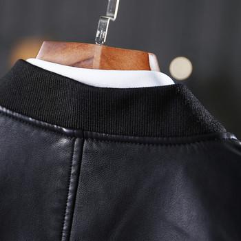 Модерно мъжко яке от еко кожа с цветна бродерия в черен цвят