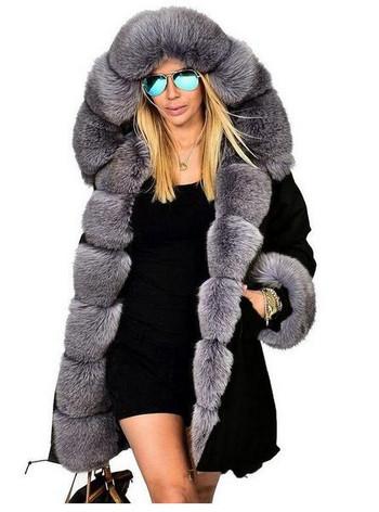 НОВ модел дамско яке  с пух дълъг модел в няколко цвята