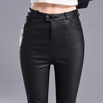 Еластичен дамско панталон в чере цвят с висока талия