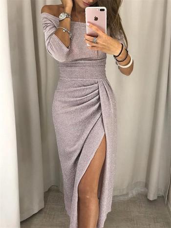 Стилна дамска рокля с паднали ръкави и цепка в три цвята