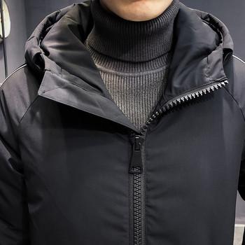 Дълго мъжко зимно яке със странични ленти в три цвята