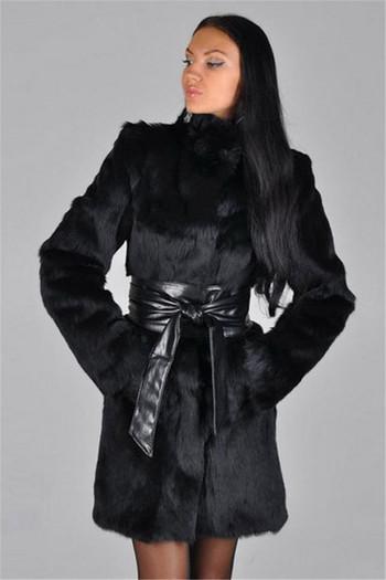 Дамско стилно палто в черен цвят
