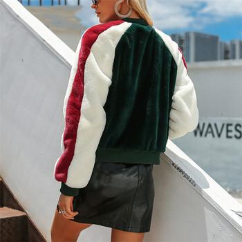 Дамско плюшено яке с О-образна яка в зелен цвят