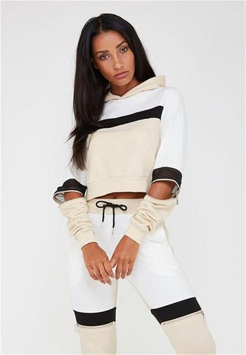 Спортно-ежедневен дамски комплект в два цвята включващ клин и блуза с качулка