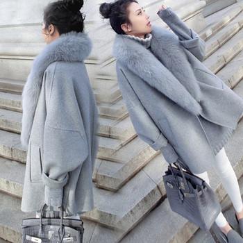 Дамско елегантно палто с пух в два цвята