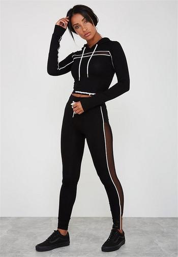 Дамски спортен комплект включващ суичър и клин в три цвята