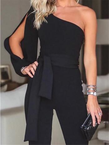 Стилен дамски гащеризон широк модел с един ръкав в черен и син цвят