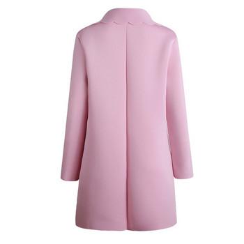 Стилна дамска жилетка с V-oбразно деколте в розов цвят