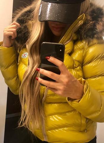 Дамско зимно Яке с естествен пух Жълто