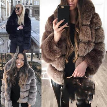 99790adbe56 Модерно дамско пухено палто с качулка в няколко цвята - Badu.bg ...
