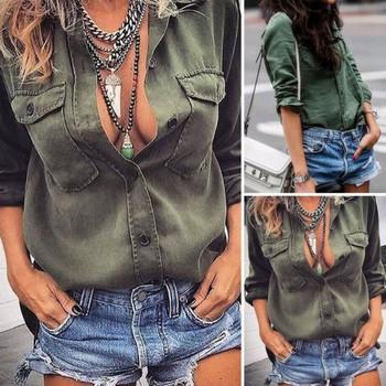 ХИТ Актуална дамска риза свободен модел в зелен цвят