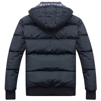 Мъжко зимно яке с качулка и джобове в черен цвят