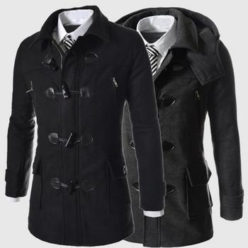 Стилно мъжко късо палто със качулка в два цвята