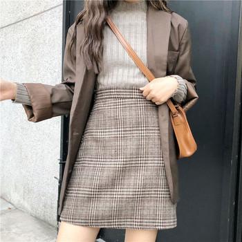 Дамска зимна карирана пола