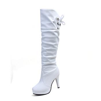 Стилни дамски ботуши от еко кожа в черен и бял цвят с 10 см ток
