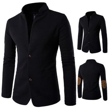 Елегантно мъжко сако с елементи от еко велур