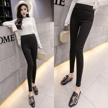 Стилен дамски панталон с висока талия в черен  цвят