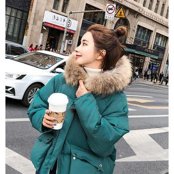 Ежедневно дамско зимно яке къс модел с пух на качулката в три цвята
