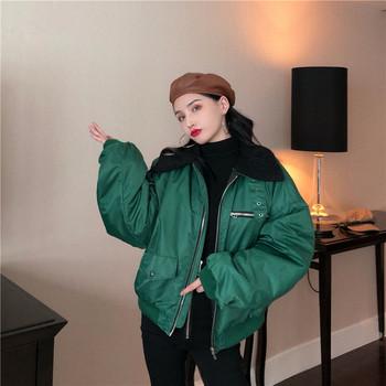 Γυναικεία σπορ-casual μπουφάν με μαύρο και πράσινο