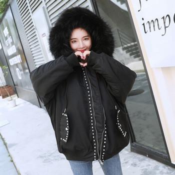 Зимно дамско яке с надпис и метални елементи в черен цвят