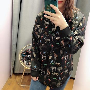 Уникална дамска риза с дълъг ръкав в черен цвят