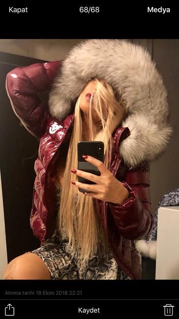 Дамско яке с естествен пух Бордо
