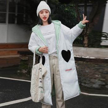 Дамско дълго яке с качулка и надписи в два цвята