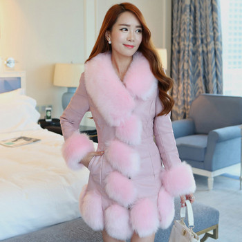 Модерно дамско палто от еко кожа и пух с V-образна яка в няколко цвята