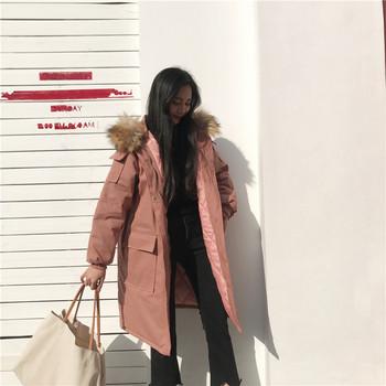 Дамско яке с пух на  качулката в четири цвята