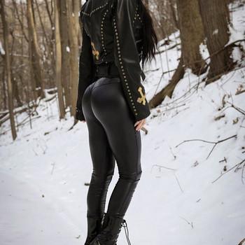 Дамски клин от еко кожа в черен цвят