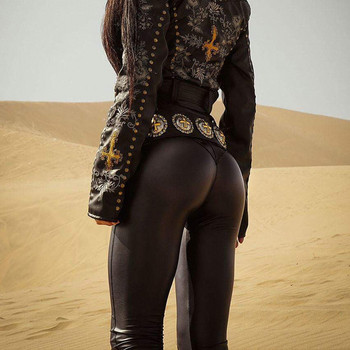 Секси дамски клин от еко кожа в черен цвят