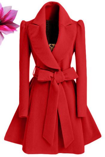 Модерно дамско палто разкроен модел с V-образна яка в три цвята