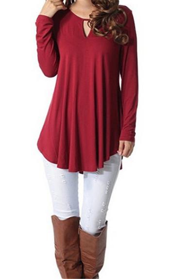 Ежедневна дамска блуза в няколко цвята с О-образно деколте - широк модел