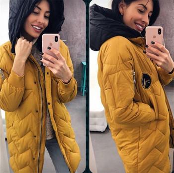Μακρύ χειμωνιάτικο σακάκι για κυρίες με κουκούλα σε τέσσερα χρώματα