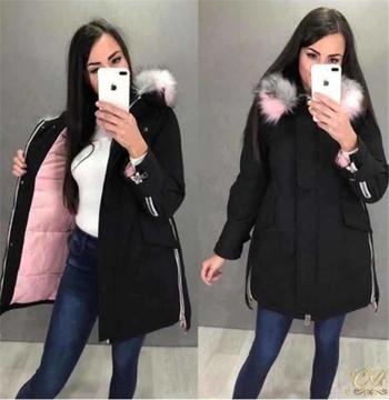 Μοντέρνο χειμερινό σακάκι με κουκούλα σε τρία χρώματα