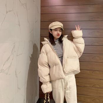 Μοντέρνο χειμερινό σακάκι με κουκούλα σε δύο χρώματα
