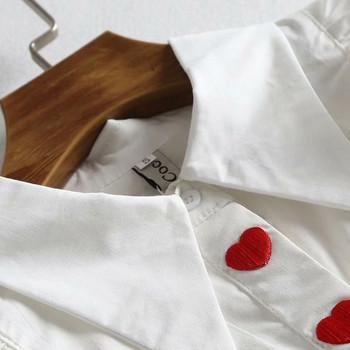 Нова дамска риза с дълъг ръкав в бял цвят с бродерия сърца
