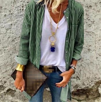 Модерна дамска раирана риза дълъг модел в няколко цвята
