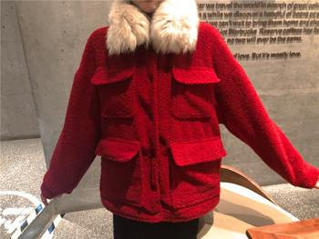 Γυναικείο μαλακό σακάκι με κόκκινο κολάρο