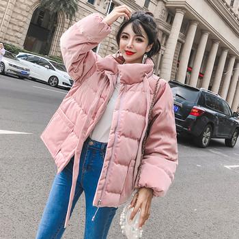 Καθημερινό χειμωνιάτικο σακάκι με μαύρους και ροζ δεσμούς