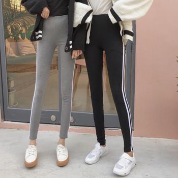 Дамски спортен клин с кант в сив и черен цвят