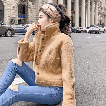Γυναικείο ζεστό μπουφάν  με λαιμόκοψη σε δύο χρώματα