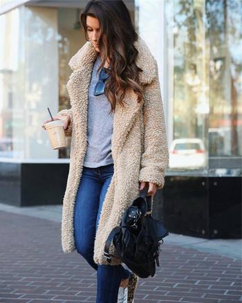 Модерно дамско топло  палто дълъг модел в няколко цвята