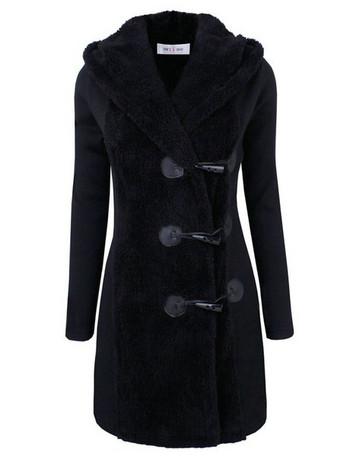 Меко дамско палто дълъг модел с качулка в три цвята