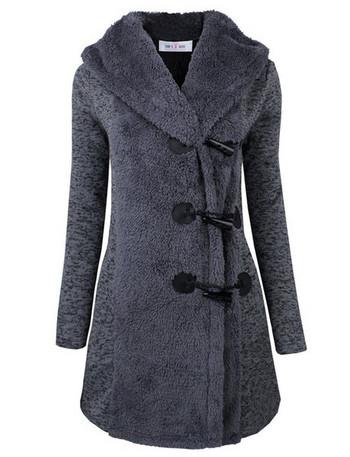 Μαλακό μακρύ γυναικείο παλτό με κουκούλα σε τρία χρώματα - Badu.gr Ο ... 0541e415fa9