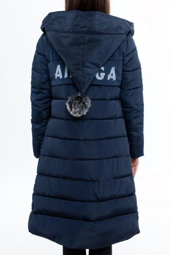 Модерно дамско яке с пух на качулката в пет цвята