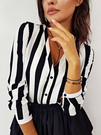 Модерна дамска раирана риза с V-образно деколте в два цвята